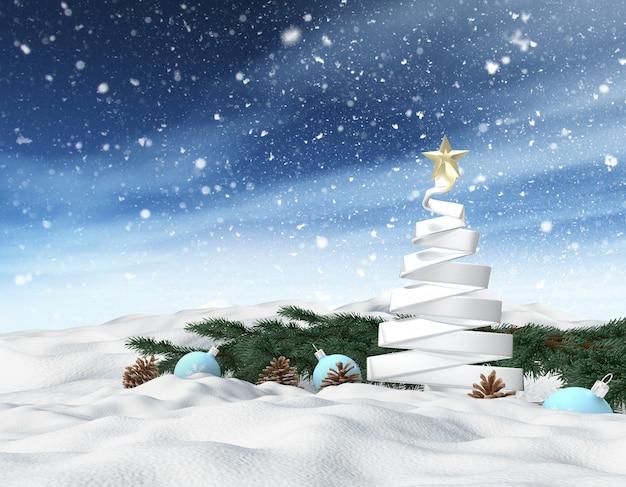 3d winter besneeuwde landschap met kerstboom, achtergrond voor wenskaart Gratis Foto