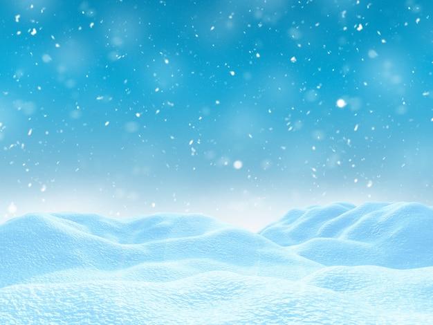 3d winter besneeuwde landschap Gratis Foto