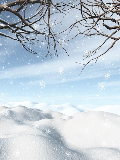 3d winterlandschap met besneeuwde bomen Gratis Foto