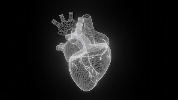3d wireframe harten geven geïsoleerd weer Premium Foto