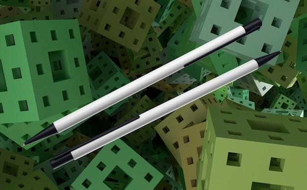 3d witte en zwarte pennen op kubussenachtergrond Gratis Foto