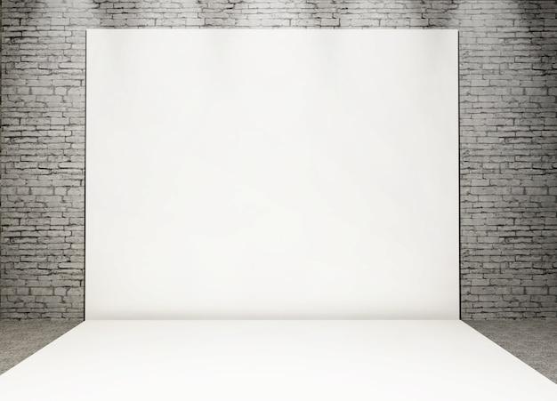 3d witte fotoreeks in een grungebaksteenbinnenland Gratis Foto