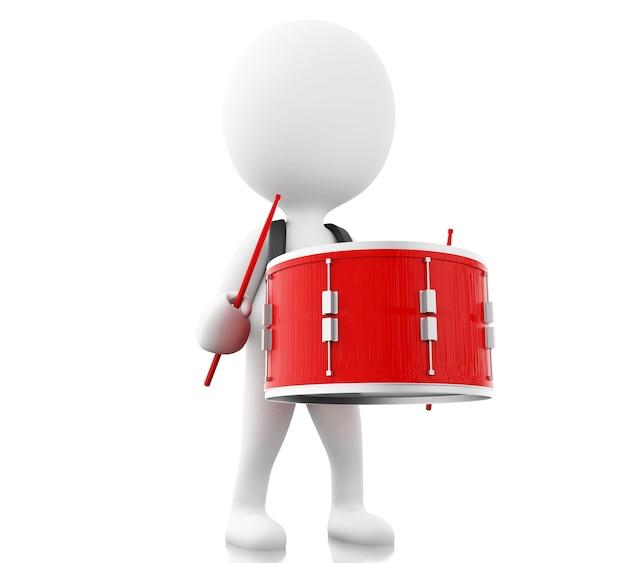3d witte mensen spelen de trommel met drumsticks Premium Foto