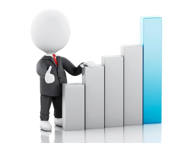 3d zakenman met statistische grafiek. succes concept. Premium Foto