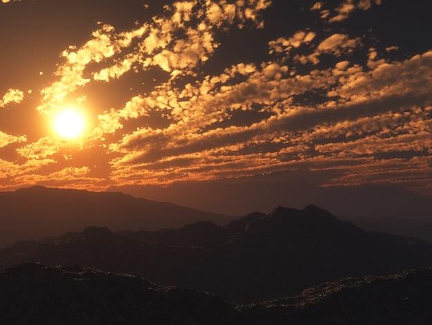3d zonsondergang berglandschap Gratis Foto