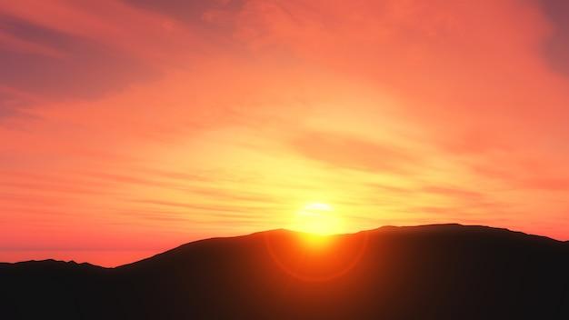 3d-zonsondergang landschap Gratis Foto