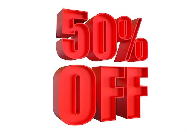 50% korting, kortingsbanner voor verhoogde verkoop in winkels en getagd. 3d-rendering Premium Foto