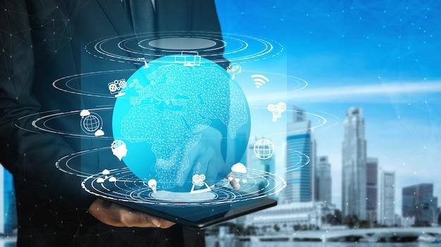 5g communicatietechnologie van internetnetwerk Premium Foto
