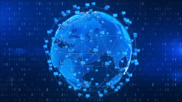 5g hallo snelheden verbinding futuristische abstracte digitale technologie achtergrond Premium Foto