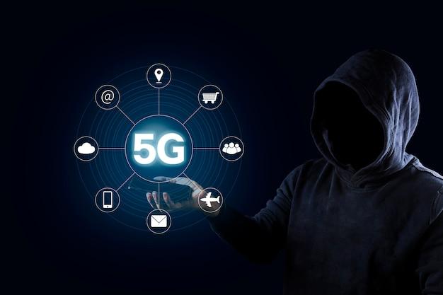 5g netwerk internet mobiel draadloos bedrijfsconcept Premium Foto
