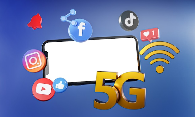 5g populairste sociale media instagram facebook tiktok youtube-pictogrammen. Premium Foto