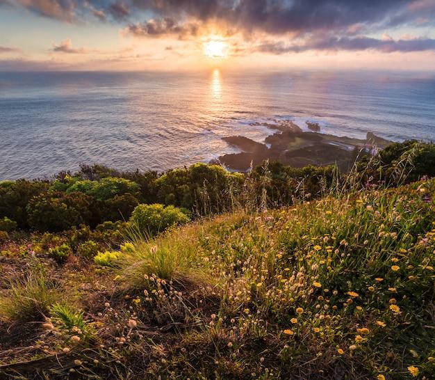 Aan de kust. sao miguel eiland. portugal. Premium Foto