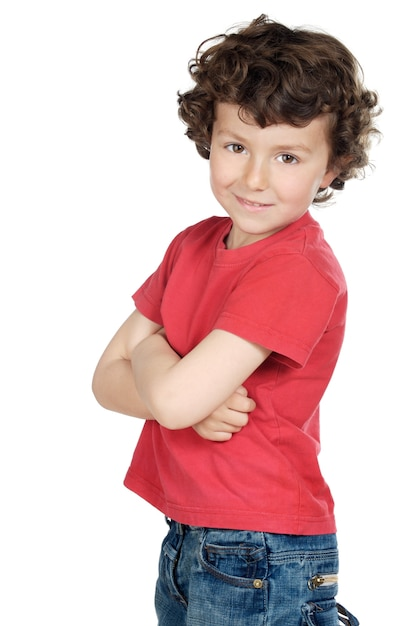 Aanbiddelijk toevallig kind a over witte achtergrond Premium Foto