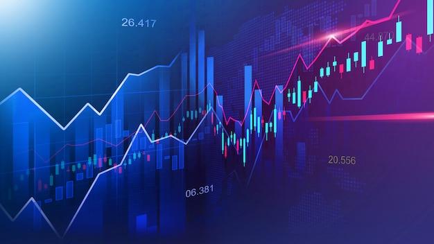 Aandelenmarkt of forex trading grafiek Premium Foto