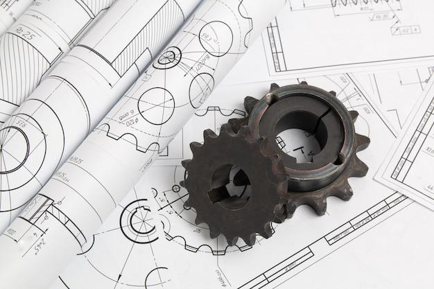 Aandrijfkettingwielen en technische tekeningen van industriële onderdelen en mechanismen Premium Foto