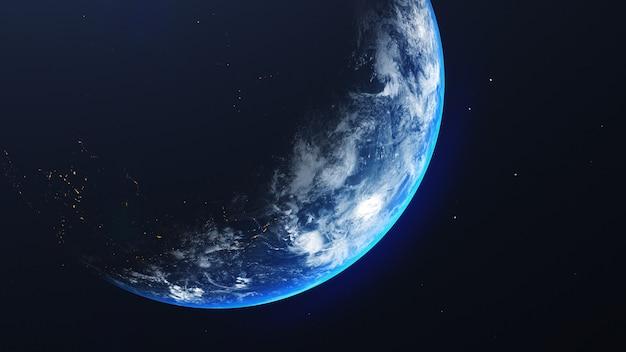 Aarde in ruimtemening met glanzende zonsopgang op universum en melkwegachtergrond. natuur en wereld milieu concept. wetenschap en wereld. fantasie luchtsfeer. 3d illustratie renderen Premium Foto