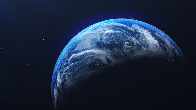 Aarde in ruimtemening met glanzende zonsopgang op universum en melkwegachtergrond. natuur en wereld milieu concept Premium Foto