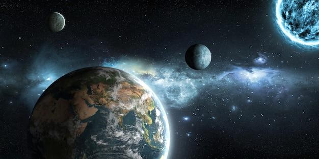 Aarde, maan en zon op de achtergrond van de ruimte in 3d illustratie Premium Foto