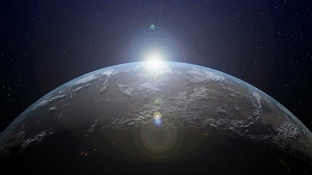 Aarde met zonsopgang aan de horizon Premium Foto