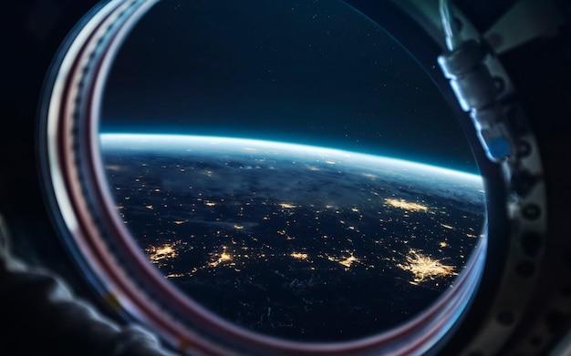 Aarde 's nachts, stadslichten vanuit een baan. elementen van deze afbeelding geleverd door nasa Premium Foto
