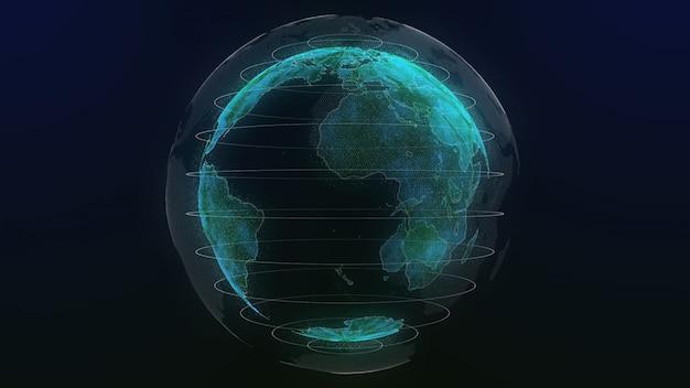 Aarde technologie hologram kleur groen Premium Foto