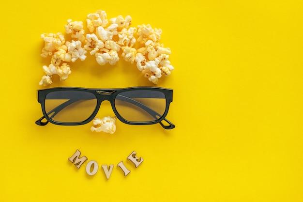 Abstract beeld van kijker, 3d-bril en popcorn Premium Foto