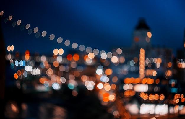 Abstract bokeh stadslicht bij nachthorizon van new york van de binnenstad Premium Foto