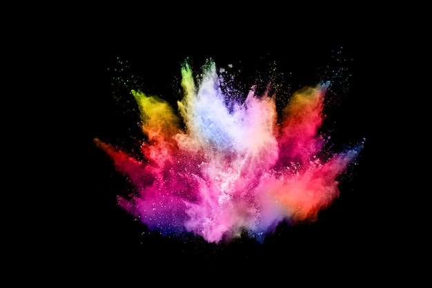 Abstract gekleurde stofexplosie op een zwart. Premium Foto