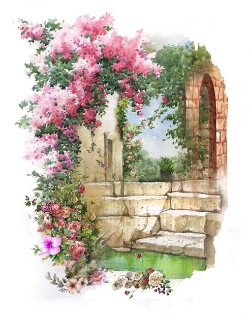 Abstract kleurrijk bloemenwaterverf het schilderen landschap. lente met gebouwen en muren Premium Foto