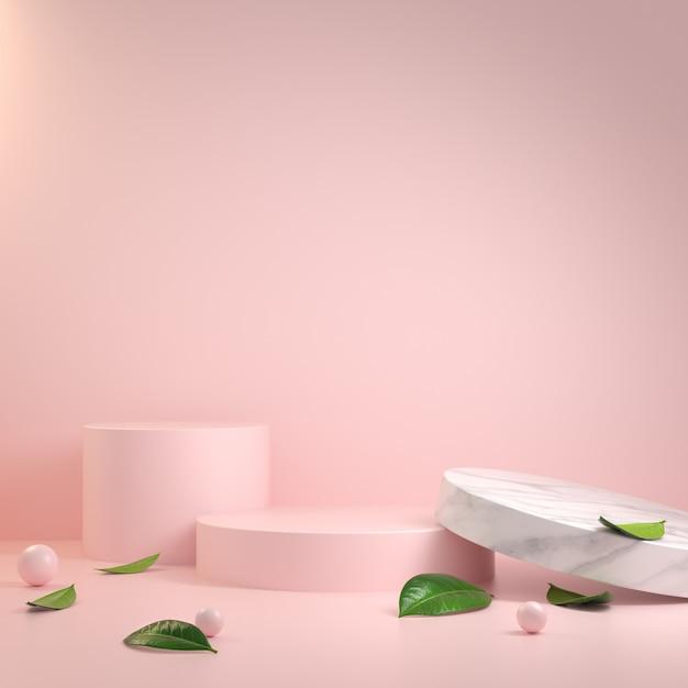 Abstract minimaal modern roze podium en bladeren 3d render Premium Foto