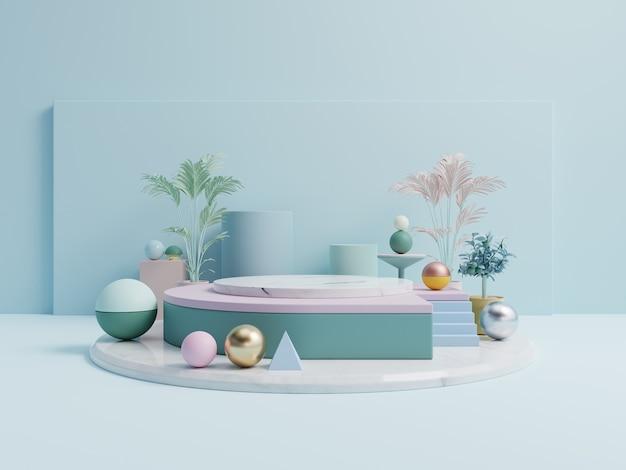 Abstract podium voor het plaatsen van producten en voor het plaatsen van prijzen met blauwe achtergrond. Premium Foto