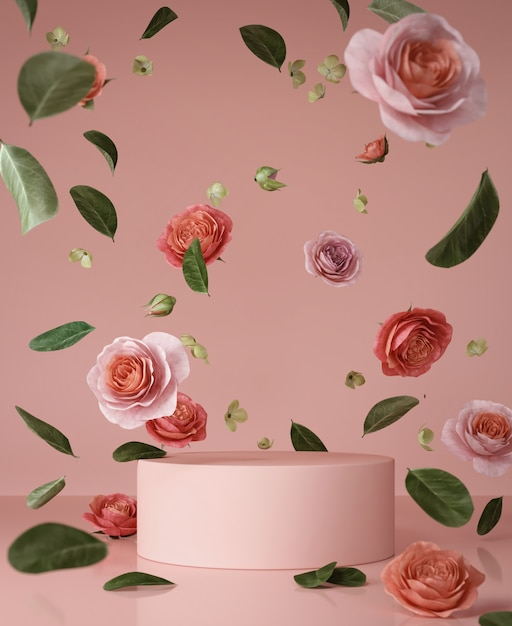 Abstract roze scènepodium Premium Foto