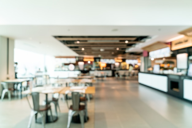 Abstract vervagen en intreepupil food court center in winkelcentrum Premium Foto