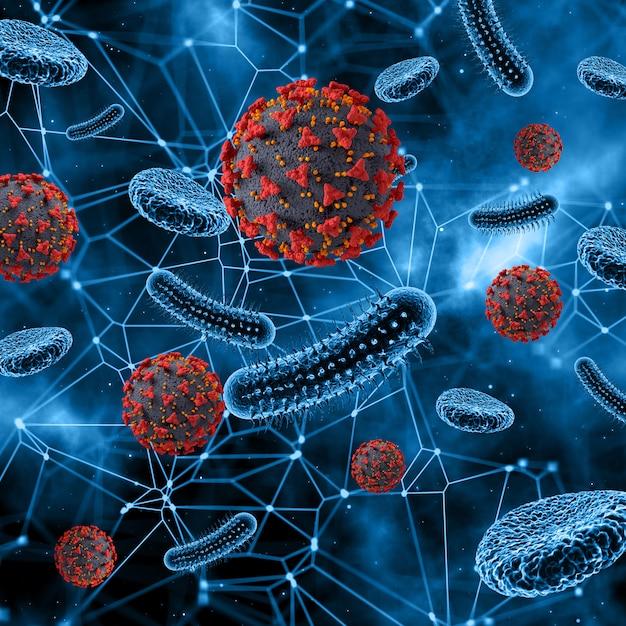 Abstract virus en bloedcellen Gratis Foto