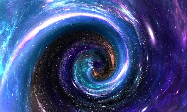 Abstract wormgat of zwart gat spiraal in de ruimte met gas en stof, sterrenstelsel en sterren Premium Foto