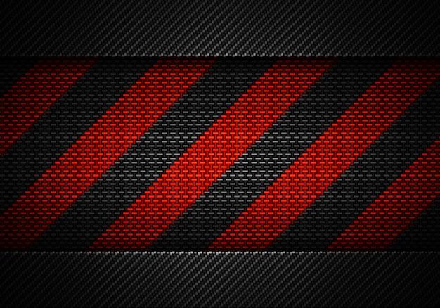 Abstract zwart koolstof geweven materiaalontwerp met waarschuwingsband Premium Foto