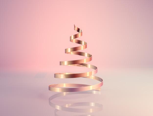 Abstracte 3d-rendering met rosé gouden luxe kerstboom. Premium Foto