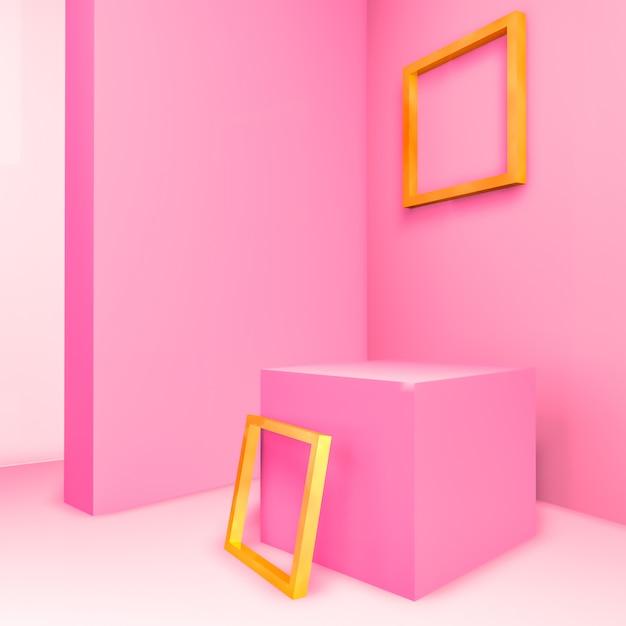 Abstracte 3d samenstelling. pastelkleurroze ruimte voor productvertoning met geometrisch 3d leeg gouden kader Premium Foto