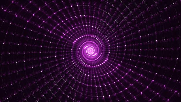 Abstracte 3d teruggevende spiraalvormige deeltjesachtergrond Premium Foto