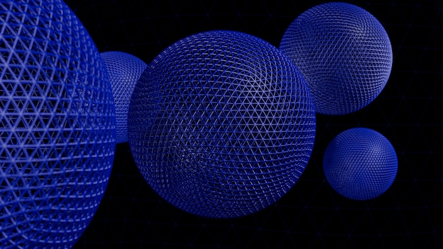 Abstracte 3d-weergave van geometrische vormen. modern ontwerp als achtergrond met bollen Premium Foto
