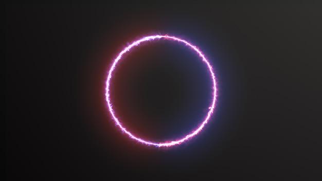 Abstracte achtergrond blauw rood spectrum fluorescerend licht met neon cirkel led animatie 3d-rendering Premium Foto