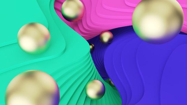 Abstracte achtergrond. gouden ballen rollen over groene, roze en blauwe stappen. psychedelische realiteit en parallelle werelden. 3d illustratie Premium Foto