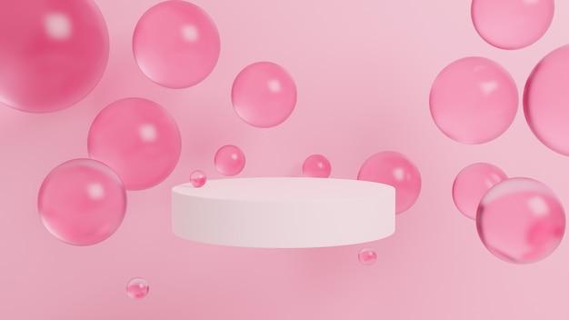 Abstracte achtergrond met 3d-bollen, zacht roze, podium, geometrisch. 3d-weergave Premium Foto