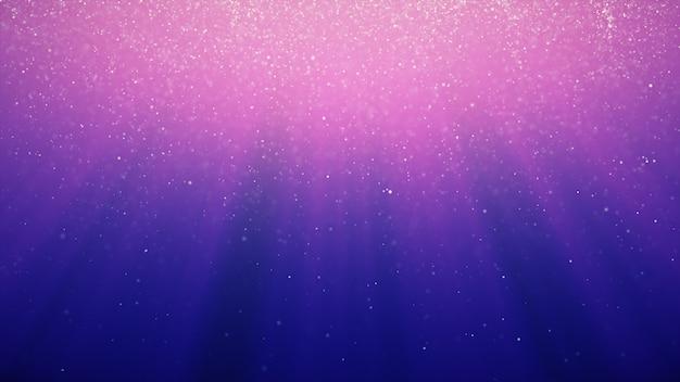 Abstracte achtergrond met beweging van glanzende knipperende deeltjes op blauwe achtergrond met lichtstralen. 3d-afbeelding Premium Foto