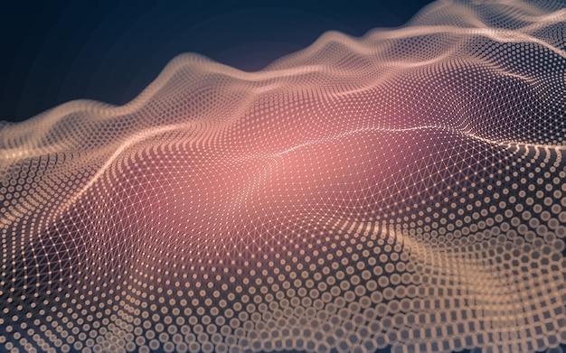 Abstracte achtergrond. molecuultechnologie met veelhoekige vormen, verbindende punten en lijnen Premium Foto
