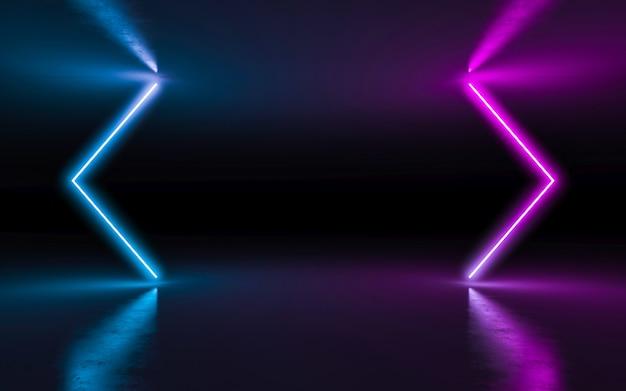 Abstracte achtergrond purpere en blauwe neon gloeiende lichten in lege donkere ruimte met bezinning. Premium Foto