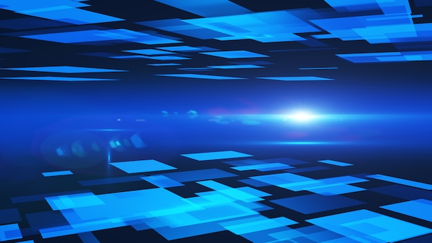 Abstracte achtergrond van blauwe vierkanten. 3d-rendering. Premium Foto