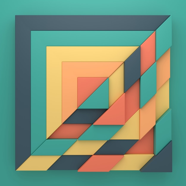 Abstracte achtergrond van rechthoekige vorm in 3d-rendering Premium Foto