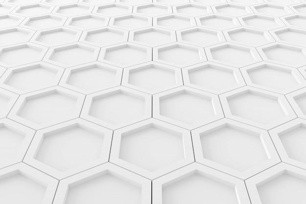 Abstracte achtergrond van zeshoek. 3d-weergave Premium Foto