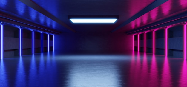Abstracte blauwe en roze neonlichtvormen op zwarte achtergrond voor het plaatsen van producten met concrete achtergrond. Premium Foto